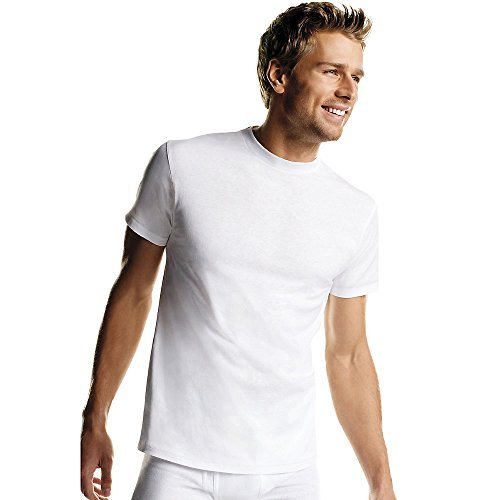 Hanes Men's 6Pack Crew Neck Tagless White Undershirts Crewneck T-Shirts, ()