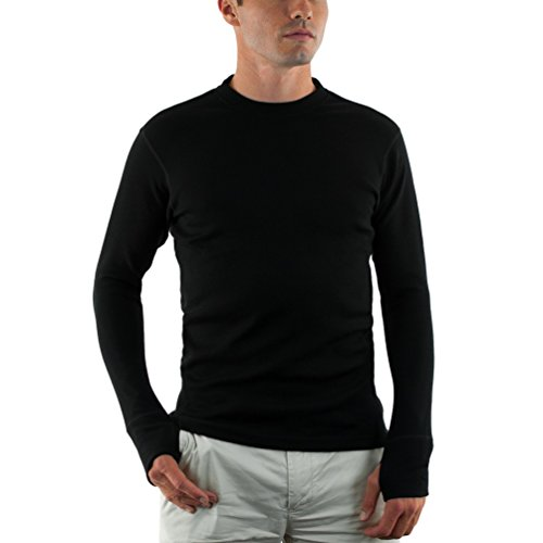 (Woolx Mens Glacier Heavyweight Merino Wool Base Layer Shirt For Extreme Warmth, Black,)
