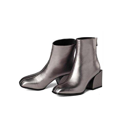 35 Tyk Sko Farve Firkantede Solid Hoved Klassiske Grå Med Fed Støvler Mode Ruskind Korte 37 g1Rzq6