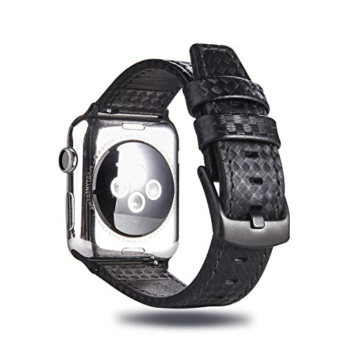 MeShow TCSHOW 40mm 38mm Genuine Leather Carbon Fiber Embossed Pattern with Black Stitching Strap Wrist Band with Secure Metal Clasp Buckle Compatible for Apple Watch Series 4(40mm)/Series 3/2/1(38mm) ()