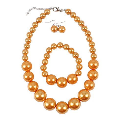 KOSMOS-LI Women's Large Big Simulated Orange Pearl Statement 19