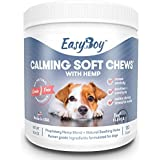 EasyBoy Calming Treats for Dogs - Dog Anxiety Relief for Travel Fireworks Thunder & Grooming - Grain Free Valerian Root L Tryptophan Chamomile & Hemp Oil for Dogs - 120 Soft Treats