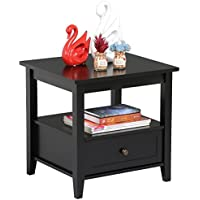 Yaheetech Wood Bedside Table with Drawers & Open Shelf Modern Bedroom Nightstands Black Finish