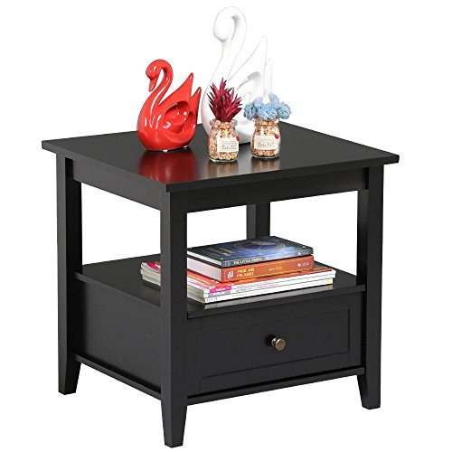 Yaheetech Wood Bedside Table with Drawers & Open Shelf Modern Bedroom Nightstands Black Finish by Yaheetech