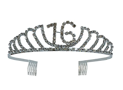Sweet Metal (Happy 16th Birthday Rhinestone Tiara - Premium Quality Metal Birthday Accessory (16th Birthday - Sweet 16))