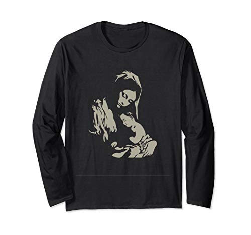 Our Lady Virgin Mary with Baby Jesus Catholic Sacred Apparel Long Sleeve T-Shirt