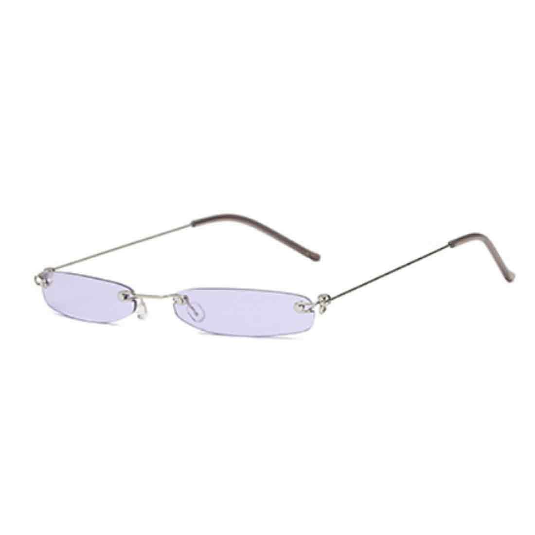 Inlefen Occhiali da sole rettangolari senza montatura Occhiali da sole vintage piccoli con montatura in metallo