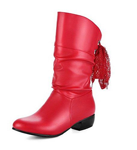 AllhqFashion Damen Niedriger Absatz Flaum Futter Rein Ziehen auf Rund Zehe Stiefel Rot