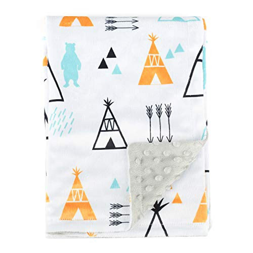 Boritar Baby Receiving Blanket for Boys and Girls Soft Minky with Double Layer Dotted Backing, Lovely Indian Style Tent Printed 30