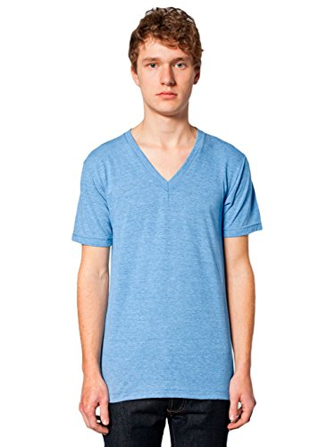 American Apparel  Unisex Tri-Blend Short Sleeve V-Neck, Athletic Blue, Large
