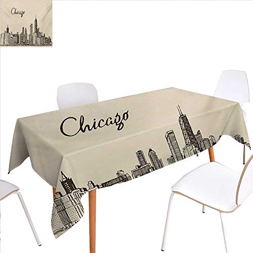 familytaste Chicago Skyline Patterned Tablecloth Vintage Style Urban Silhouette Country Culture Architecture Capital Dust-Proof Oblong Tablecloth 50