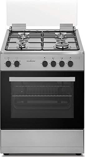 Cucina a Gas con Forno Elettrico Ventilato Multifunzione con Grill 60x60 cm  Inox