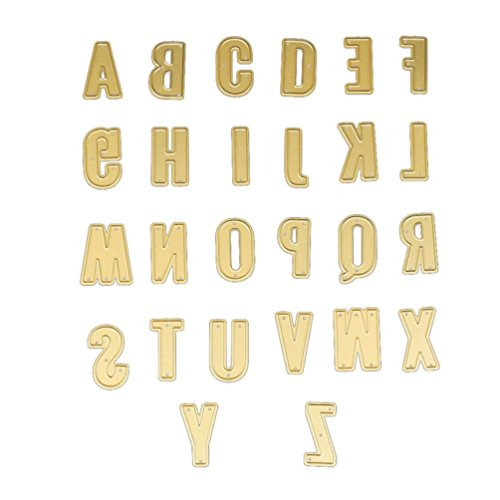 TrimakeShop 26PC Gold Uppercase Letters Metal Cutting Dies Stencils DIY Scrapbooking Card Making (B) - Uppercase Alphabet Dies