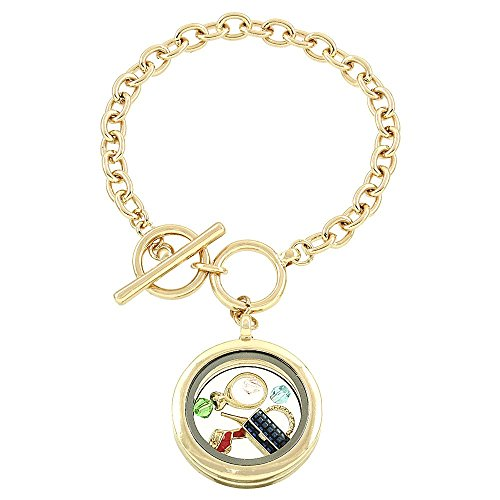 "Ladies Themed Floating Charms Glass Cover Locket Goldtone Bracelet, 7.5+.5"" Ext. from HW Bracelet Collection"
