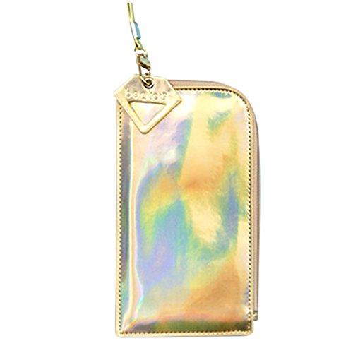 Aibearty Women's Fashionable Hologram Clutch bag, Cell Phone Pouch, Glasses Case, Wallet Purse, Cards - Cash Back Sunglasses Clip