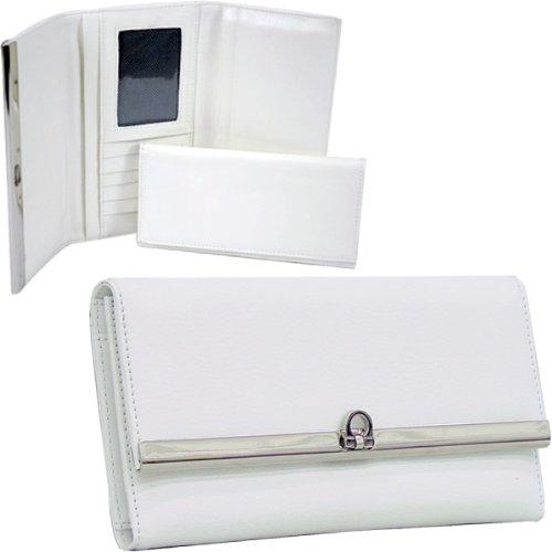 HPW Handbags W144 Plain leather like fold over flap w/ flip clasp checkbook wallet White