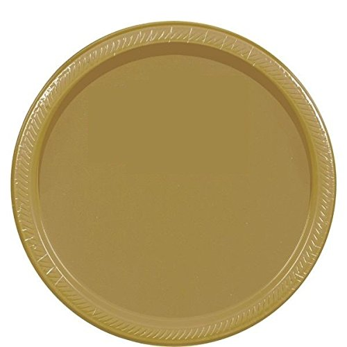 Amscan Disposable Party Round Dinner Plates Tableware, Gold, Paper, 9