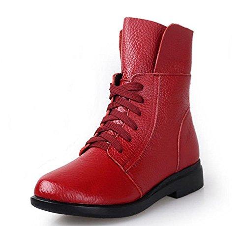 Sra botas zapatos casuales zapatos de la señora de las mujeres caen los zapatos del elevador Ms. Red