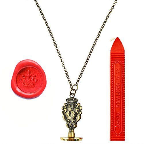 UNIQOOO Vintage UK Crown Craft Pendant Wearable Necklace Sealing Stamp Red Wax (Wax Stamp Seal Crown compare prices)