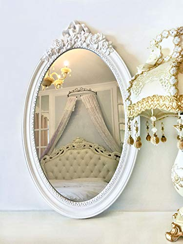 """Basswood Hunters 25""""x 16"""" Large Oval Vintage Decorative Wall Mirror, White Wooden Crown Frame, Antique Princess Decor for Bedroom,Playroom,Dressers,Living Room"""