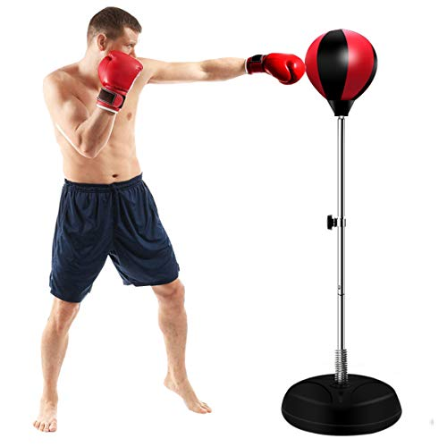 Punching Bag with Stand and Boxing Gloves, Suitable for Adults and Children, Height-Adjustable Stand, New Option for…