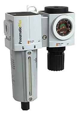 "PneumaticPlus PPC4B-N04G-Q1 Compressed Air Filter Regulator Modular Combo 1/2"" NPT - Manual Drain, Metal Bowl, Embedded Gauge"