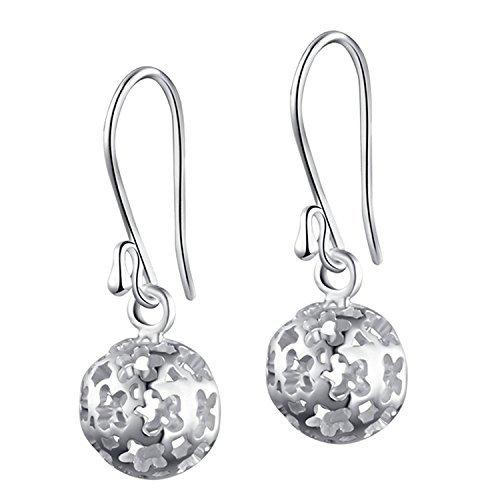 Hollow Ball Earrings - SA SILVERAGE Sterling Silver Dangle Earrings Hollow Filigree Ball Earrings Round Drop Earrings Women's Fashion Jewelry