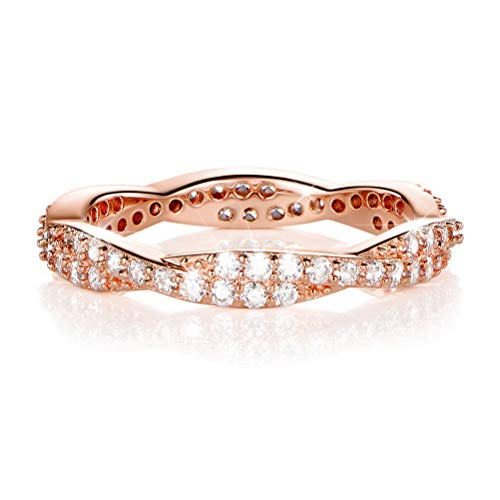 OPALBEST 18K Rose Gold Plated Promise Ring CZ Eternity Twist Fate Rings for (Twist Of Fate Costume)
