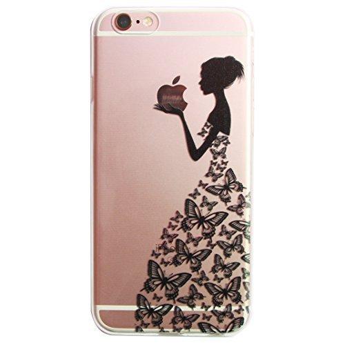 For iphone 7 case,Transparente TPU Coque Silicone Case Ultra Slim Premium Soupe Skin de Protection Pare-Chocs Anti-Choc Hülle pour Apple iPhone 7 (4.7 pouces)-fille noire