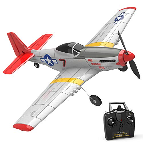 VOLANTEXRC RC Airplane 4-CH with Aileron Remote Control Warplane P51 Mustang Ready to Fly with Xpilot Stabilization System, One Key Aerobatic and One-Key U-Turn Function for Beginners (761-5 RTF)