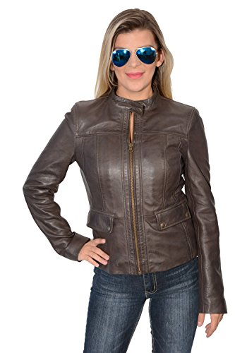 Womens Brown Leather Snap Collar Scuba Jacket W/ Patch Pockets (Brown Female Leather Jacket)