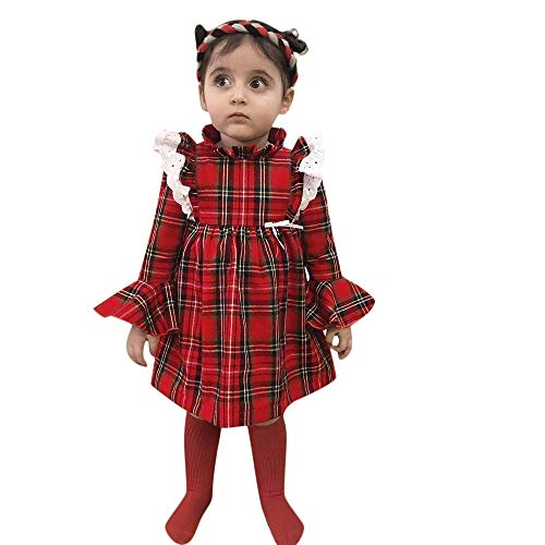 Price comparison product image Wenjuan Plaid Lace Bell Sleeve Jumpsuit Romper Dress, Children Toddler Baby Girls Outfits Clothes Red (S110)