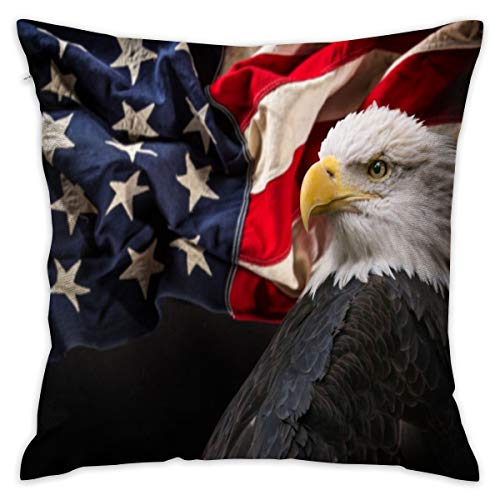 Bald Eagle and American Flag Decorative Throw Pillow Cover Hidden Zipper Closure Cushion Case for Home Sofa Bedroom Car Chair House Party Indoor Outdoor 18 X 18 Inch 45 X 45 cm