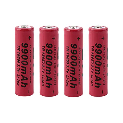 OutTop(TM) 4 Pcs/Pack 3.7V 18650 9900mAh Li-ion Rechargeable Cylindrical Battery + Wired Charge for Flashlight Torch ,Electric Tools,Remote Control, Mobile Power, Small Fan (red)