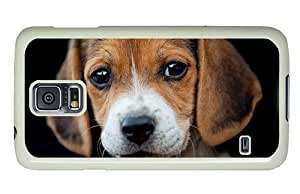 Hipster leather Samsung S5 Case Beagle Puppy PC White for Samsung S5