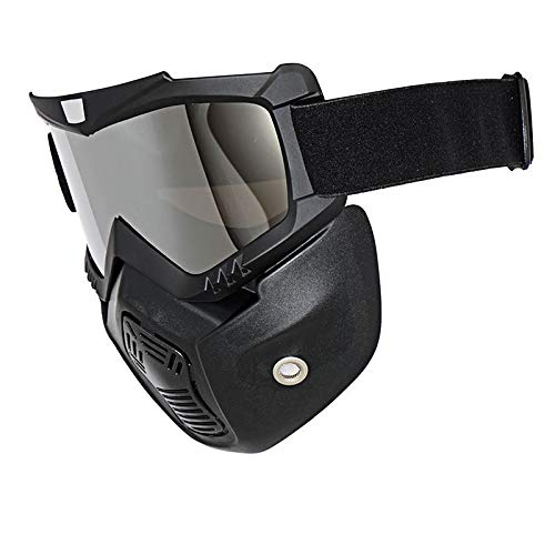 Zhahender Fitness Training, Motorcycle Helmet Mask Face Mask Goggles for Open Face Helmet Off-Road Riding Full Face Removable Goggles