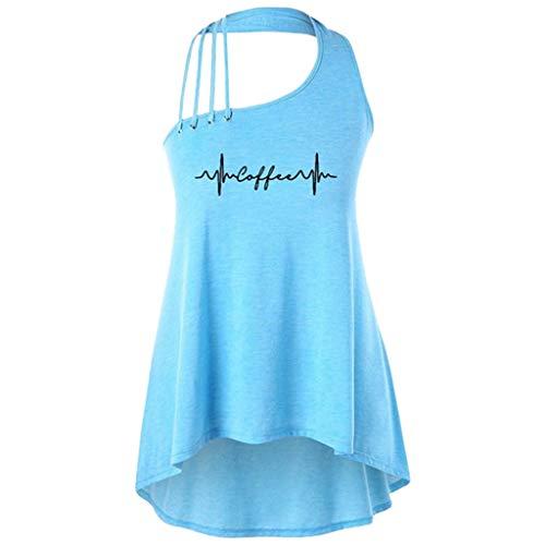 (TUSANG Women Tees SummerLetter Patchwork Sexy Shirt Top Blouse Slim Fit Comfy Flowy Hem Tunic(Blue,US-8/CN-L))