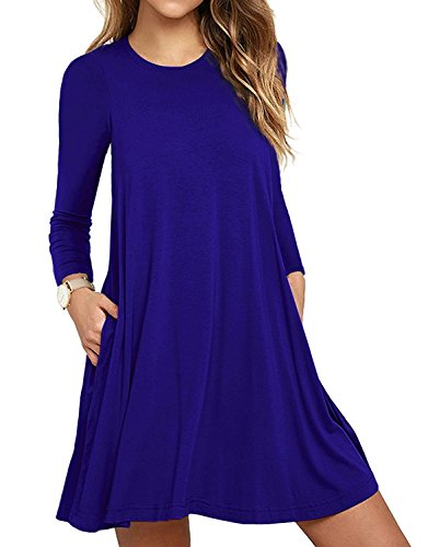HAOMEILI Women's Sleeveless Pockets Casual Swing T-Shirt Summer Dresses (Medium, Long Sleeve-Royal Blue) (Boots Sweater Dresses)