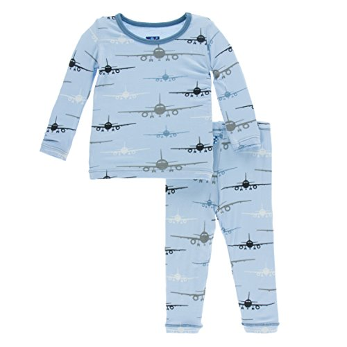 KicKee Pants Little Boys Print Long Sleeve Pajama Set, Pond Airplanes, Boys 5 Years
