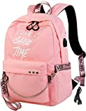 El-fmly Fashion Luminous Backpack with USB Port,College School Bags Backpacks Girls Denim Cute Bookbags Student Backpack School Laptop Backpack Bag Pack Super Cute for School for Teenage - Pink
