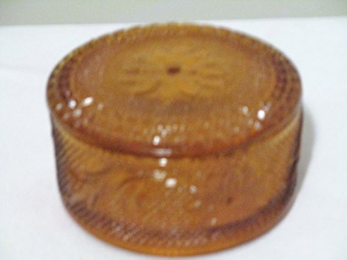 Indiana Sandwich Amber Glass Powder Dish w/ lid