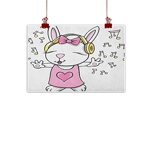 Sunset glow Decorative Art Print Kids,Cute Rock Star Rabbit Bunny with Speakers Music Notes Girls Humor Heart Cartoon, Baby Pink Yellow 36