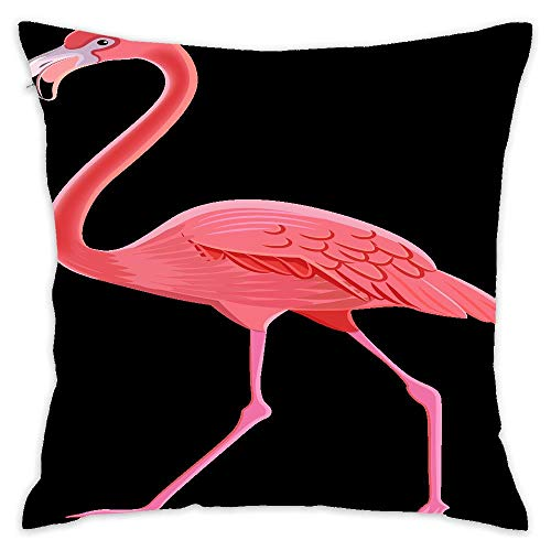 (Flamingo Clipart Animated Square Decorative Cushion Cover Soft Cotton Outdoor Throw Pillow Case Cover for Sofa Bedroom Home Office Car 18x18 Inch)