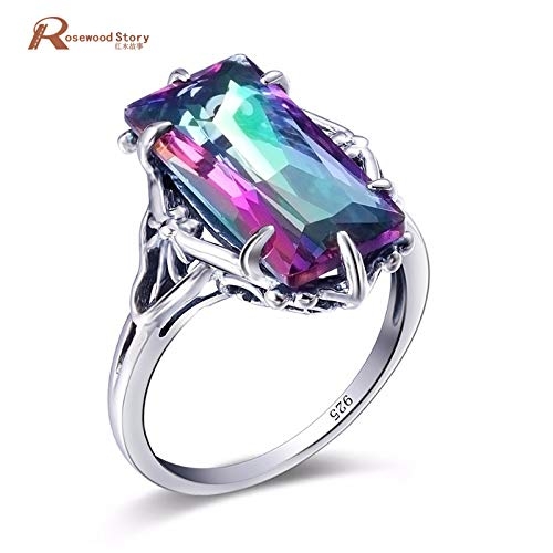 - Ring | Rainbow Fire Mystic Crystal Cocktail Ring | Solid Sterling Silver Vintage Evening Party Jewelry for Women
