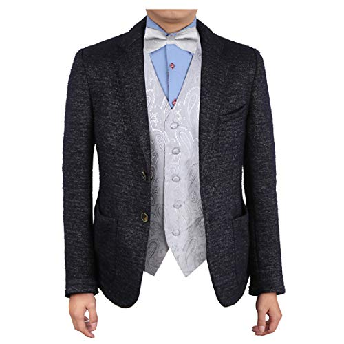 Epoint EGE1B03A-XL Silver Patterns Microfiber Vest and Pre-tied Bow Tie