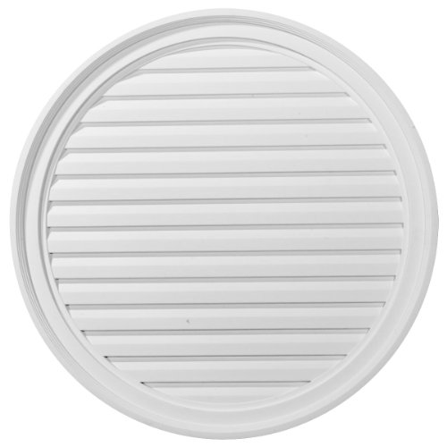 (Ekena Millwork GVRO30D 30-Inch W x 30-Inch H x 2 1/4-Inch P Round Gable Vent Louver, Decorative)