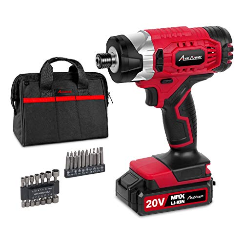 20V MAX Cordless 1/4″ Hex Impact Driver Kit, Variable Speed, Max Torque 1590 in-lbs, with 14Pcs Sockets, 10Pcs Driver Bits and Tool Bag, Avid Power