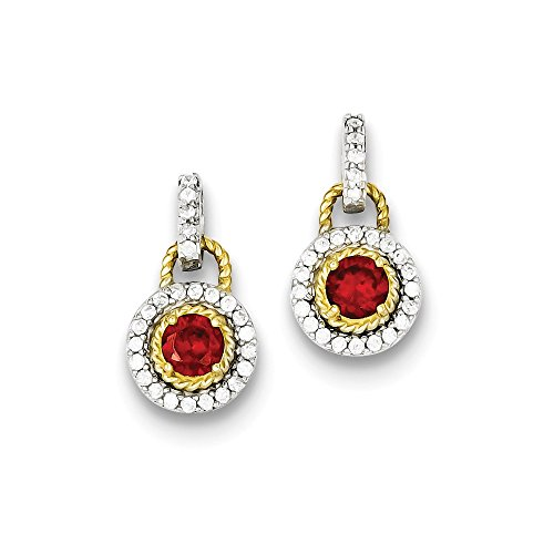 Sterling Silver Vermeil Dark Red CZ Earrings
