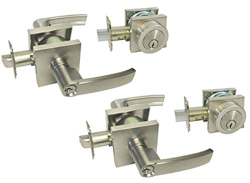 Satin Nickel Square Plate Entry Entrance keyed Levers with Matching Double Cylinder Deadbolts (keyed on Both Sides) Combo Keyed Alike 8048DC (2 Set)