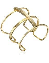"Yochi Gold-Plated Double-Link Open Cuff Bracelet, 6.5"""